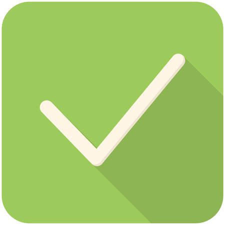 Check, modern flat icon with long shadow