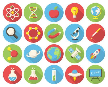 química: Ciencia, iconos planos modernos con larga sombra Vectores