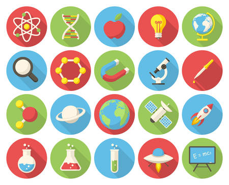 Science, modern flat icons with long shadow Stock Illustratie