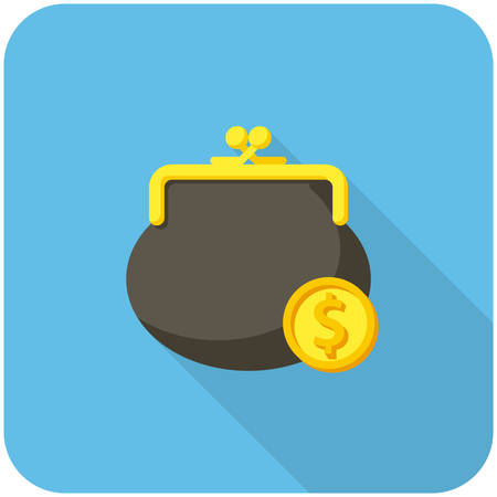 coins: Purse and coin, modern flat icon with long shadow
