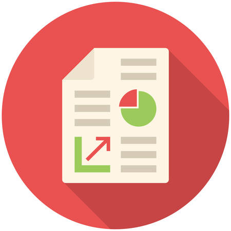 finance report: Business report, modern flat icon with long shadow