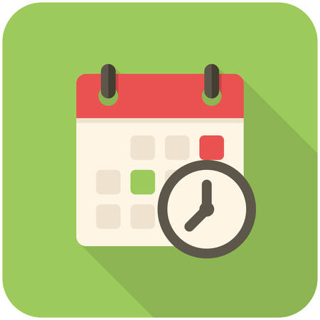 time clock: Meeting Deadlines, modern flat icon with long shadow