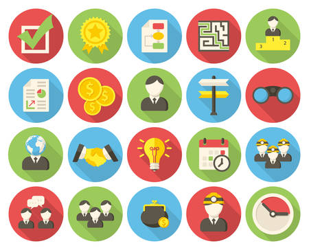 Business, modern flat icons with long shadow Illustration