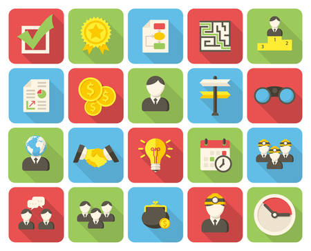 finding: Business, modern flat icons with long shadow Illustration