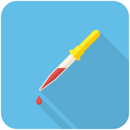 stem cell: Pipette, modern flat icon with long shadow Illustration