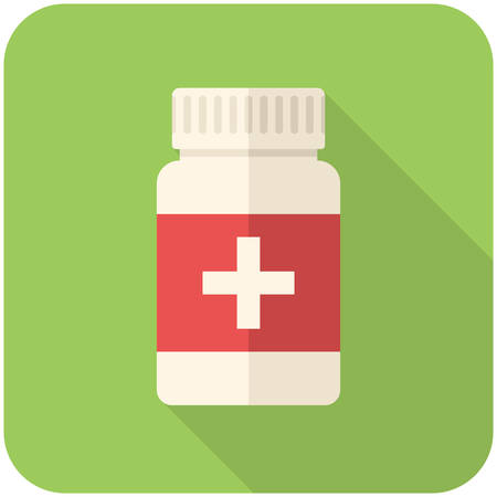 pill box: Medical bottle, modern flat icon with long shadow Illustration