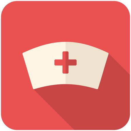 enfermera con cofia: Casquillo de la enfermera, icono plana moderna con una larga sombra