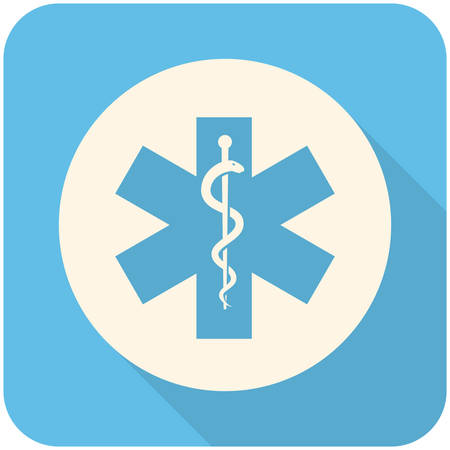 medical staff: Star of Life, modern flat icon with long shadow