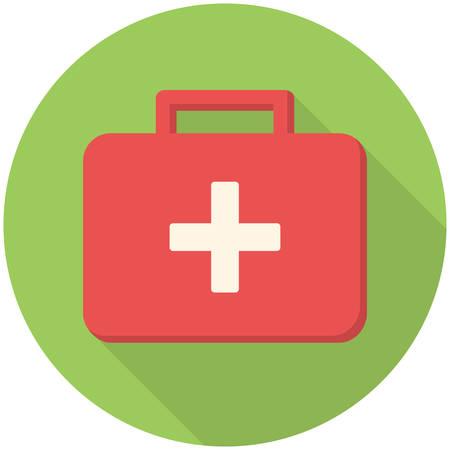 medical box: Medical box, modern flat icon with long shadow Illustration