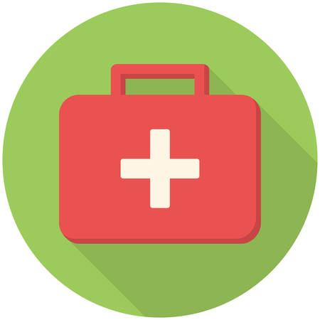 Medical box, modern flat icon with long shadow Vectores