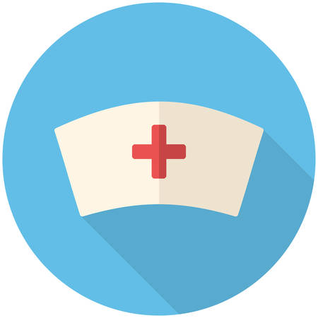 medical cross: Nurse cap, modern flat icon with long shadow Illustration