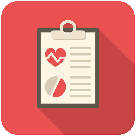 report icon: Medical report, modern flat icon with long shadow Illustration