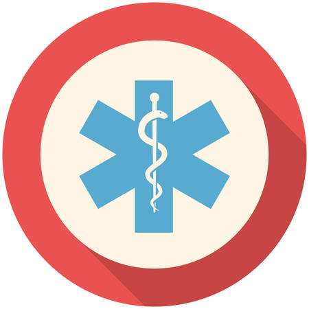 star of life: Star of Life, modern flat icon with long shadow