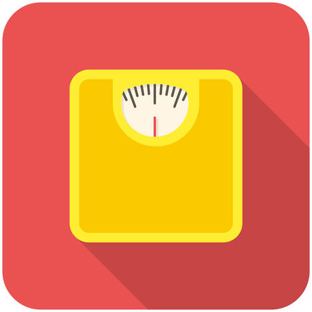 bathroom weight scale: Bathroom scale, modern flat icon with long shadow Illustration