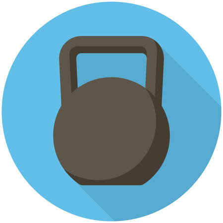 Kettlebell, modern flat icon with long shadow Vector