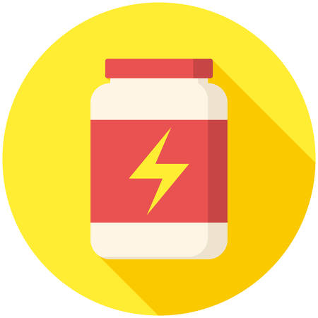 gainer: Sport Nutrition, modern flat icon with long shadow