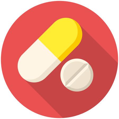 pastillas: Las p�ldoras de vitaminas, icono plana moderna con una larga sombra Vectores