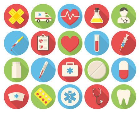Medical icons, modern flat icons with long shadow Vector