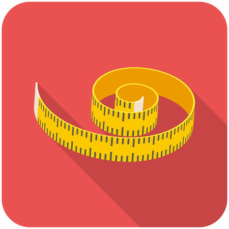 measuring tape: Measuring tape, modern flat icon with long shadow