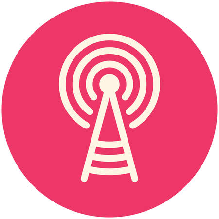Transmitter tower icon (flat design) Vector