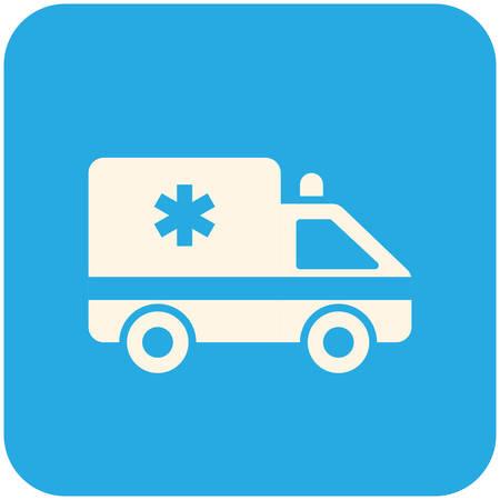 ambulancia: Coche de la ambulancia, icono plana moderna