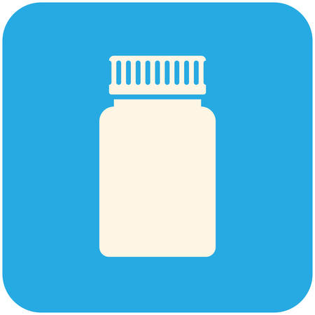 pill box: Medical bottle, modern flat icon