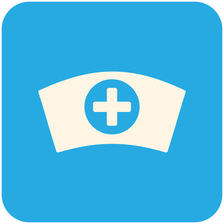 nurse cap: Cap Infermiere, icona piatto moderno