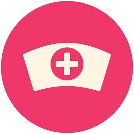 enfermera con cofia: Casquillo de la enfermera, icono plana moderna