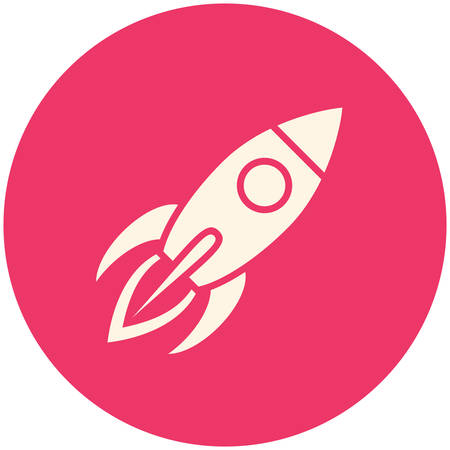 fly cartoon: Rocket, modern flat icon