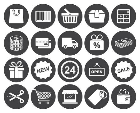 Shopping icons set (modern flat design) Vector