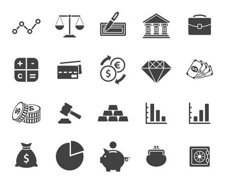 Finanzen Symbole gesetzt (moderne flache Bauform)