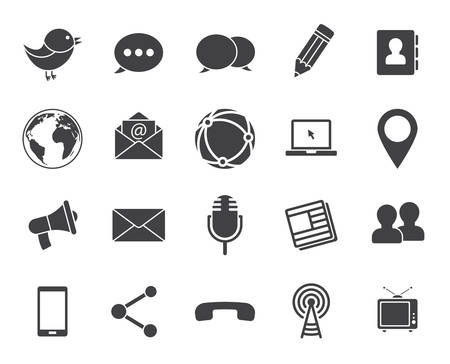 wireless communication: Media and communication icons (modern flat design)