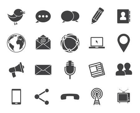 simbolo: Media e comunicazione icone (Design piatto moderno) Vettoriali