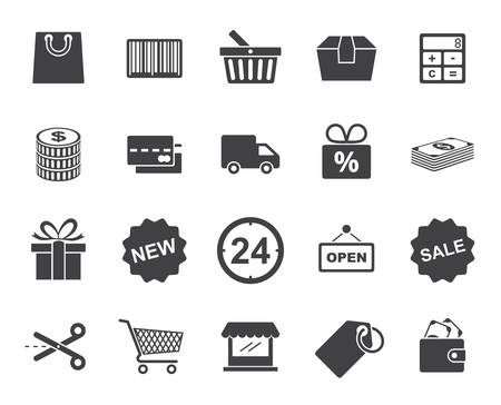 gift shop: Shopping icons set (modern flat design)