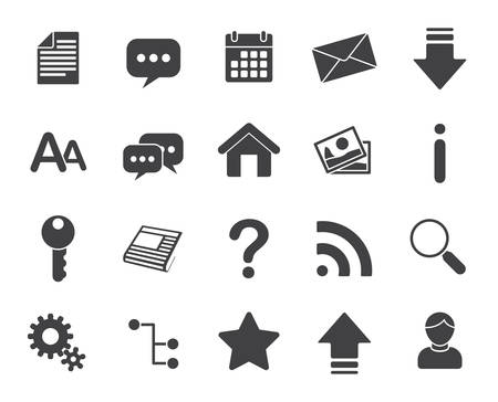 black and white image: Web icons (modern flat design)