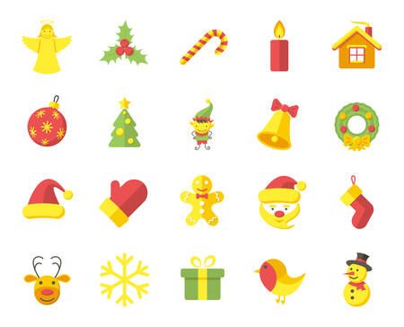 Christmas, modern flat icons on white background Vector