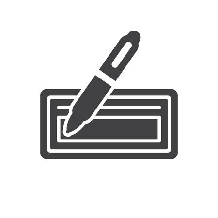 Bank check icon (flat design)