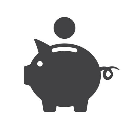Piggy bank icon (flat design)