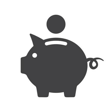 white piggy bank: Piggy bank icon (flat design)