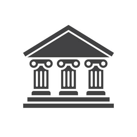 Bank icon (flat design)  イラスト・ベクター素材