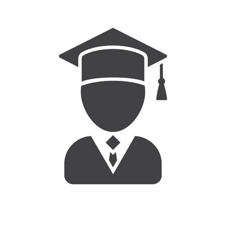 graduates: Graduate, modern flat icon Illustration