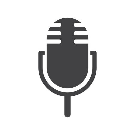 mike: Microphone icon (flat design) Illustration