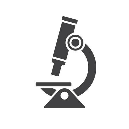 investigando: Icono de microscopio, icono plana moderna