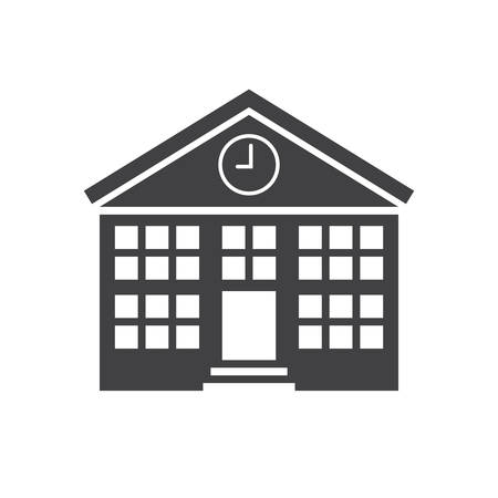 university building: School building, modern flat icon Illustration