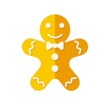 Gingerbread man icon (flat design)