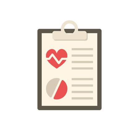 Informe médico, icono plana moderna