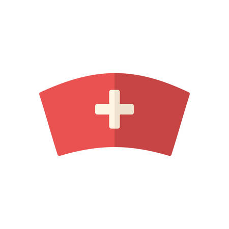 red hat: Nurse cap, modern flat icon Illustration