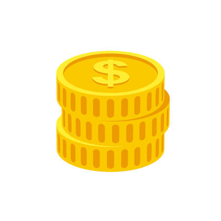 dollar coins: Coins icon  (flat design)