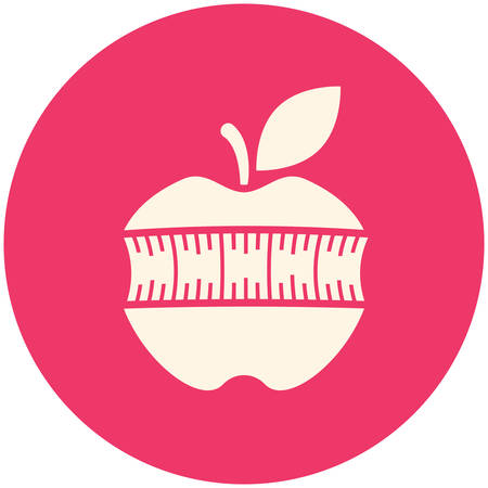 nutrition icon: Apple with measuring tape, modern flat icon Illustration