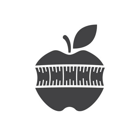 measuring tape: Apple with measuring tape, modern flat icon Illustration